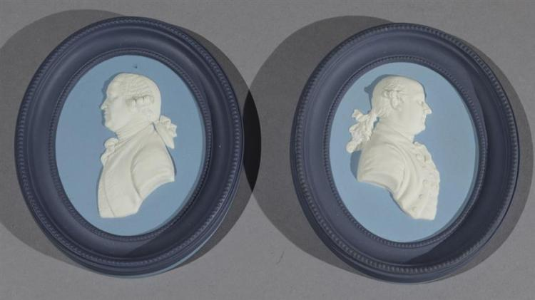 Pair of Wedgwood Jasperware Commemorative Oval Portrait Medallions