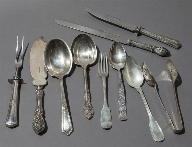 Ten Pieces Sterling Silver Serving Flatware Property from the estate of Carl G. and Alma C. Stifel.