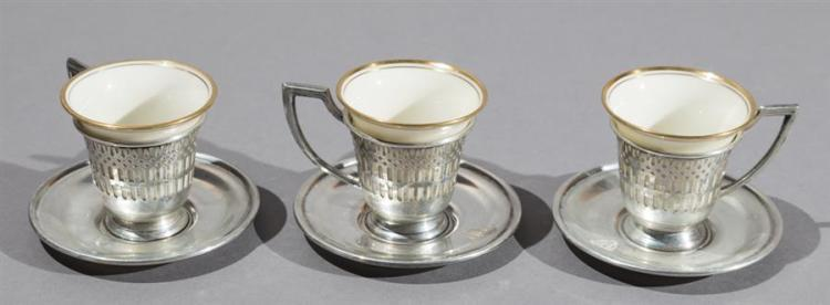 Maschmeyer Richards, St. Louis, Sterling Silver Demitasse Cups and Saucers Property from the estate of Carl G. and Alma C. Stifel.