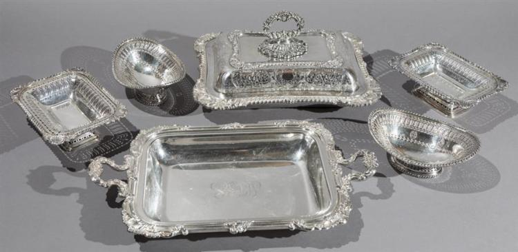 Group of Good English Plated Silver Table Articles Property from the estate of Carl G. and Alma C. Stifel.