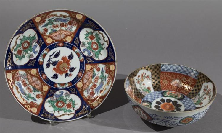 Japanese Imari Porcelain Bowl and Plate