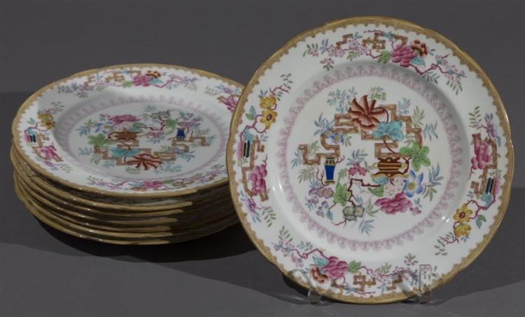 Eight Minton''s Porcelain Plates, CHINESE TREE pattern