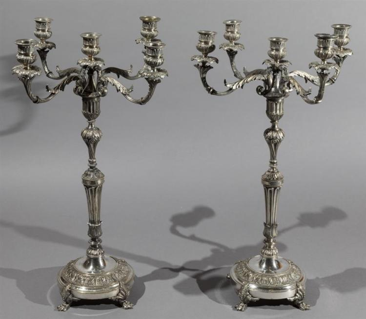 Pair of Sheffield Plated Silver Candelabra