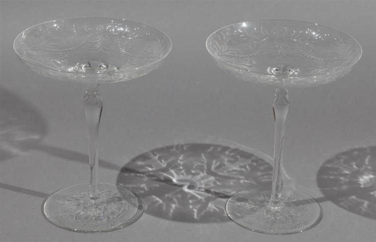 Pair of Etched Leaded Glass Compotes