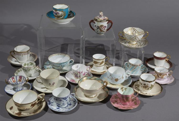Collection of Continental Porcelain Cups and Saucers