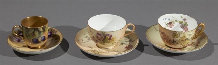 Three Royal Worcester Porcelain Cups and Saucers