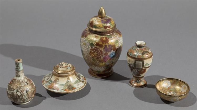 Five pieces of Japanese Satsuma Miniature Pottery