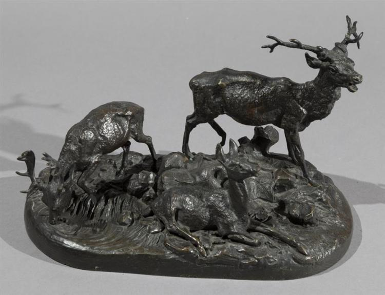 An Oval Base Bronze Figural Group