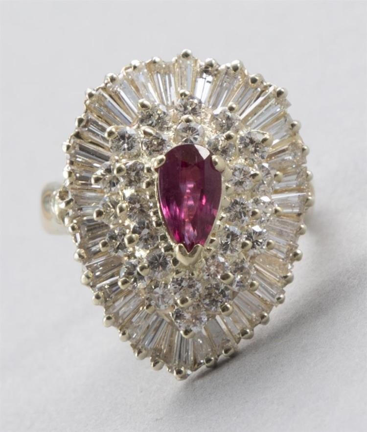 Ballerina Style Diamond and Ruby Ring in 14K Yellow Gold
