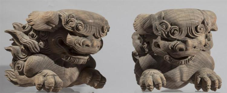 Pair of Chinese Wood Foo Dogs