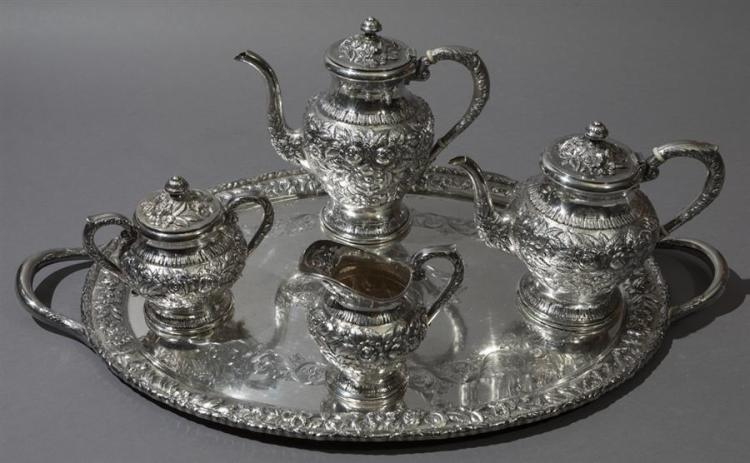 S Kirk & Son Sterling Silver Tea/Coffee Set and Tray, REPOUSSE pattern Property from the estate of Carl G. and Alma C. Stifel.