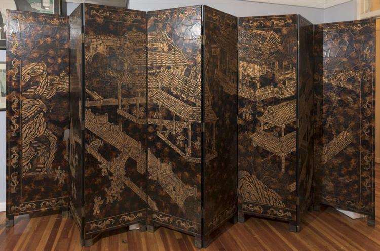 Chinese Eight Panel Two Sided Lacquered Screen