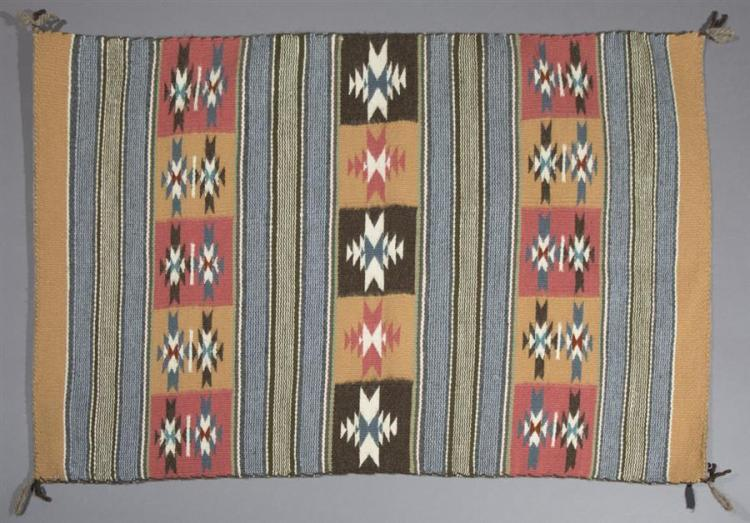 Betty Jombo, Crystal River pattern handwoven rug.