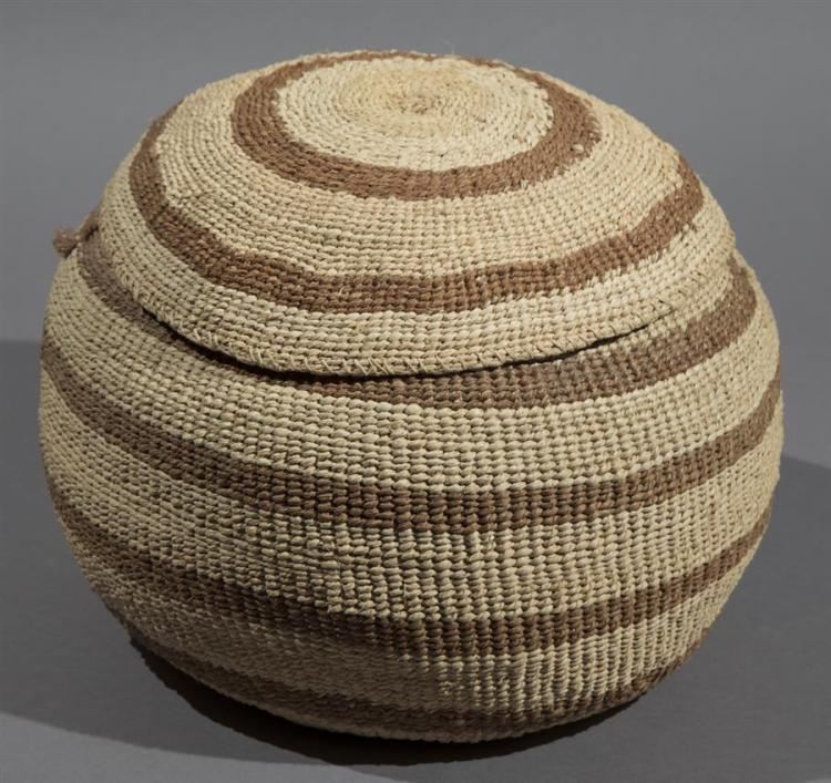 Ojibwa Handwoven Lidded Basket