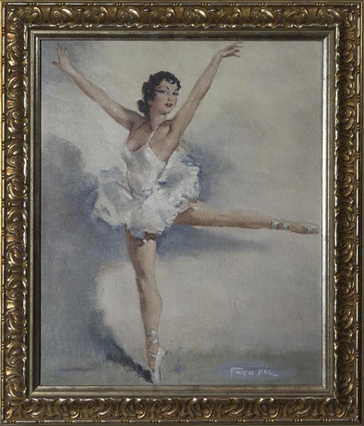 Pal Fried, Hungarian (1893-1976), Ballerina, oil on canvas, 18 x 15 inches