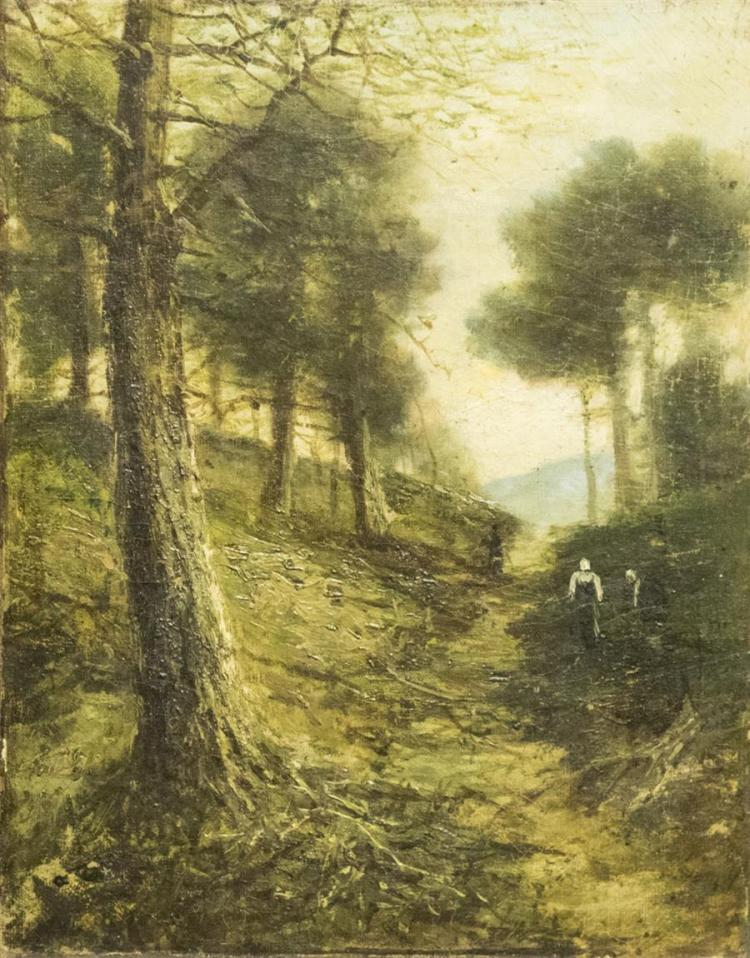 19th century, Landscape with figure on a path, oil on canvas, lined, 14 x 11 inches