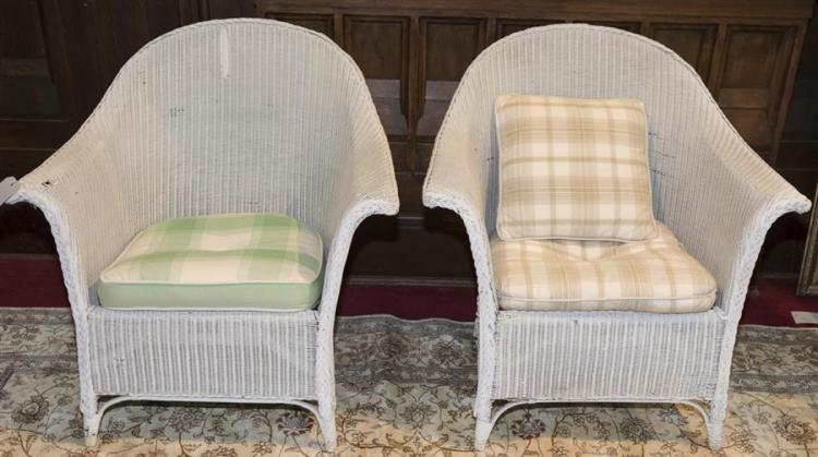Pair Vintage Heywood Wakefield Wicker Armchairs