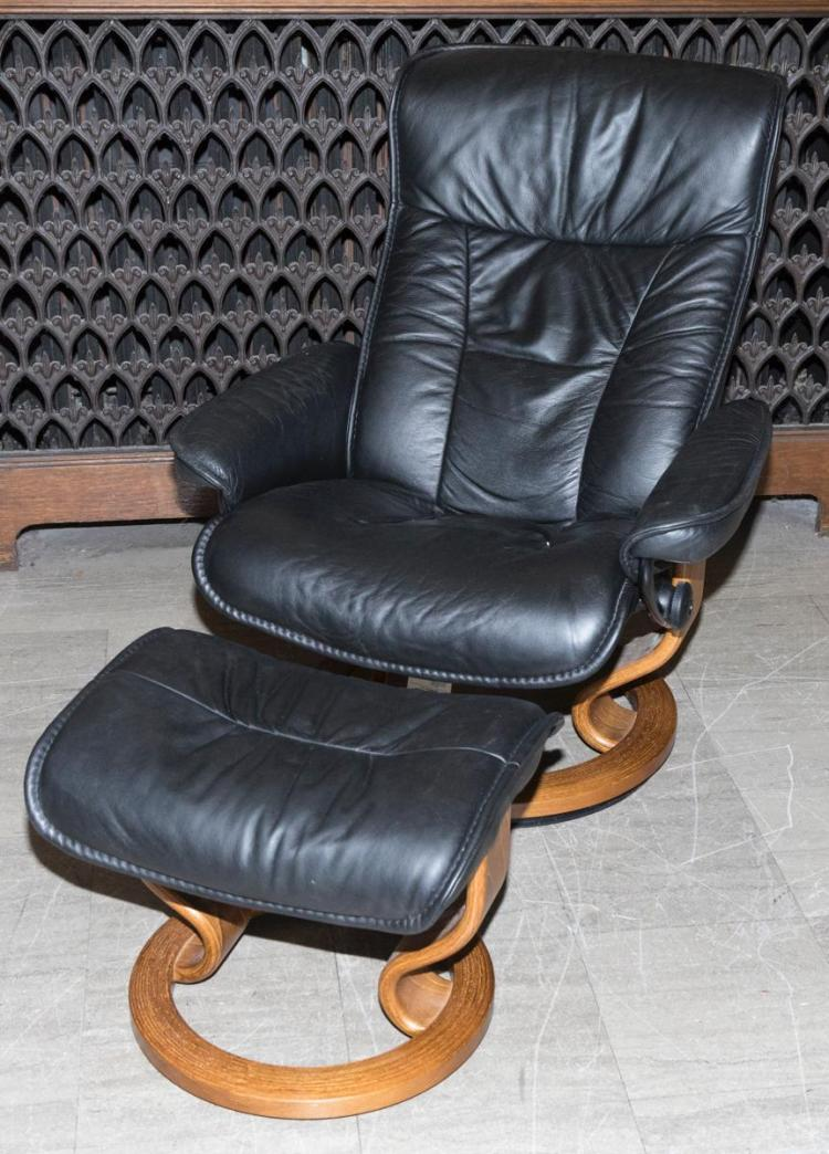 Swedish Design Black Leather Recliner With Ottoman Made In