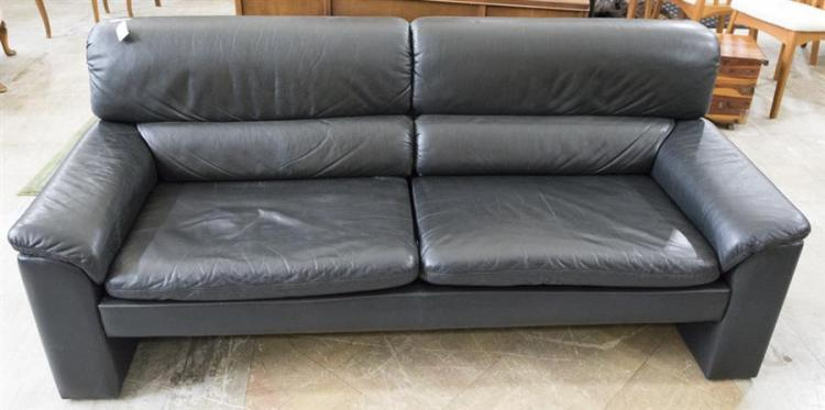 Black Leather Contemporary Style Sofa Length 72 Inches D