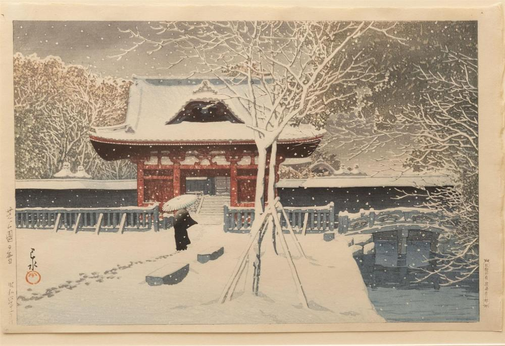 Sold Price: Hasui Kawase, Japanese (1883-1957), Winter Scene, color  woodcut, 9 3/4 x 14 1/4 inches - February 6, 0120 10:00 AM CST
