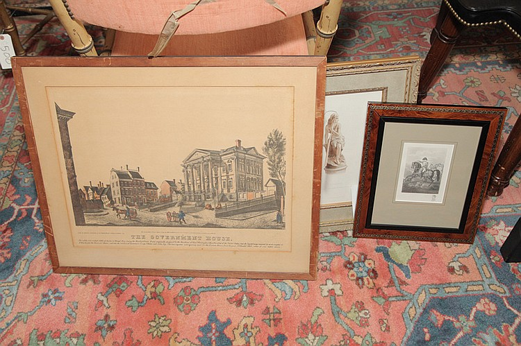 Four assorted framed pieces - an engraving of