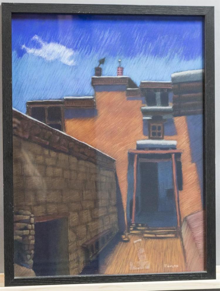 j hulan 20th century architectural scene pastel