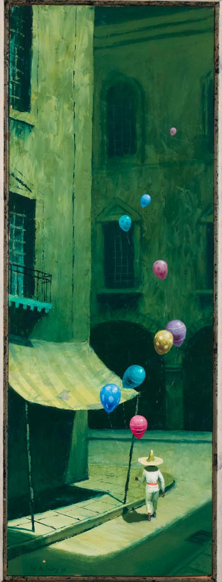 William Foley, Texas (b. 1926), Boy and Balloons, 1966, oil on masonite, 23 3/4 x 8 1/2 inches