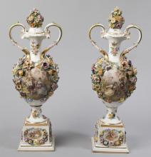 19th Century Dresden Urns