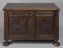 Antique Continental Fall Front Trunk, 18th Century