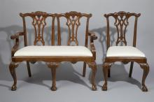 Set Of Ten Chippendale Style Chairs and Settee