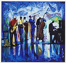 William Tolliver, American (1951-2000), Jazz Reflections, serigraph, 32 1/4 x 34 inches