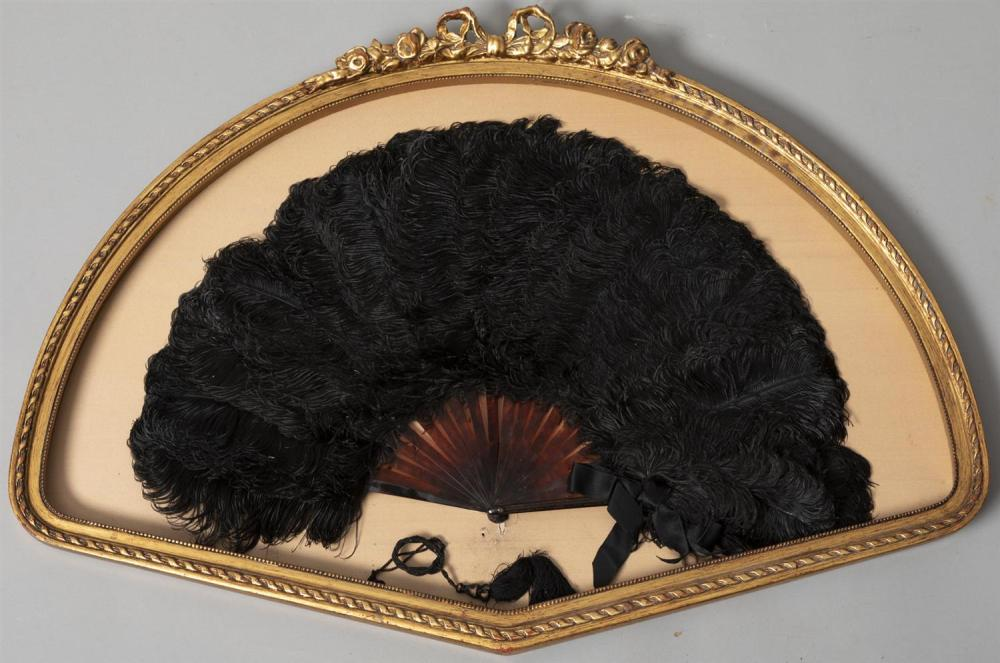 Antique Victorian Era Tortoiseshell and Black Ostrich Feather Fan