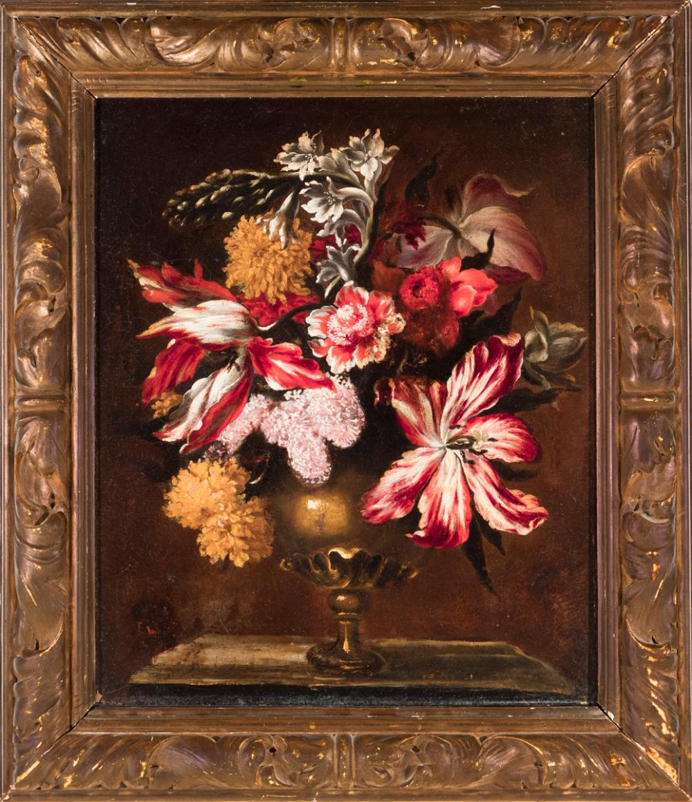 Dutch School, 18th century, Still life with Tulips, lilac, and chrysanthemum in a vase, oil on canvas, 21 x 17 inches