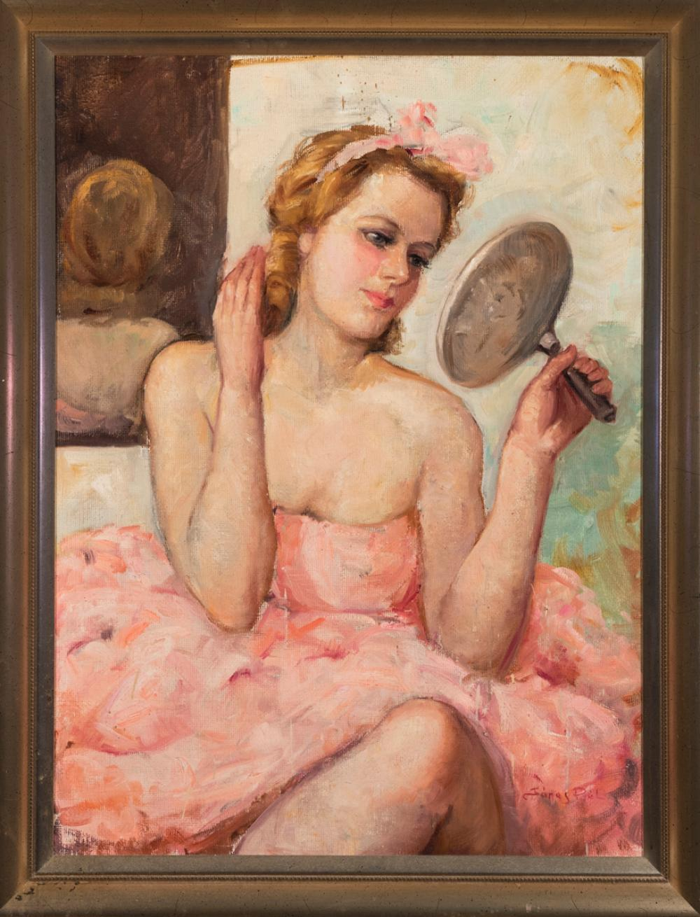 Pal Fried, Hungarian (1893-1976), Ballerina in pink, oil on masonite, 32 x 23 1/2 inches