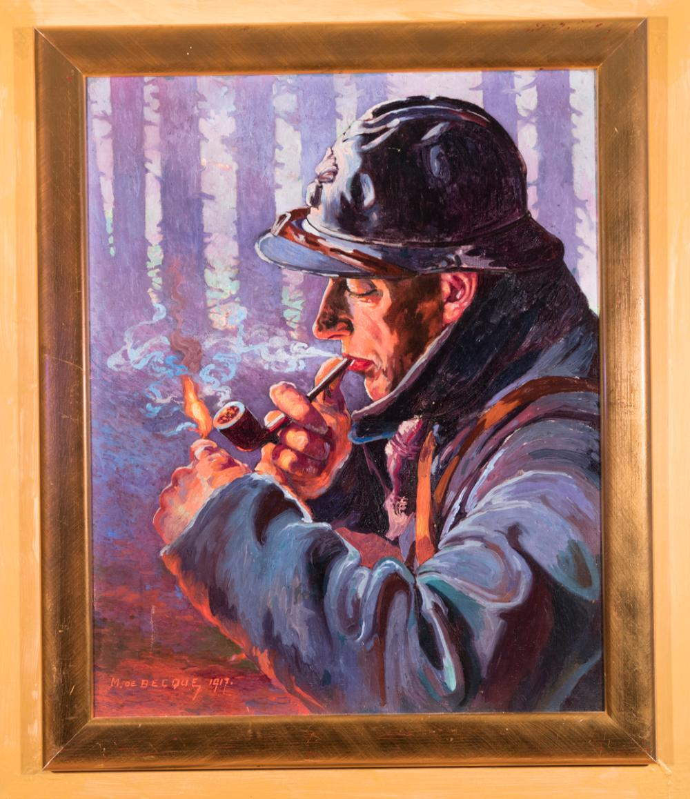 M. de Becque, 20th century, Man in uniform, smoking a pipe in the woods, illustration work, 1917, oil on canvas, 24 x 19 inches