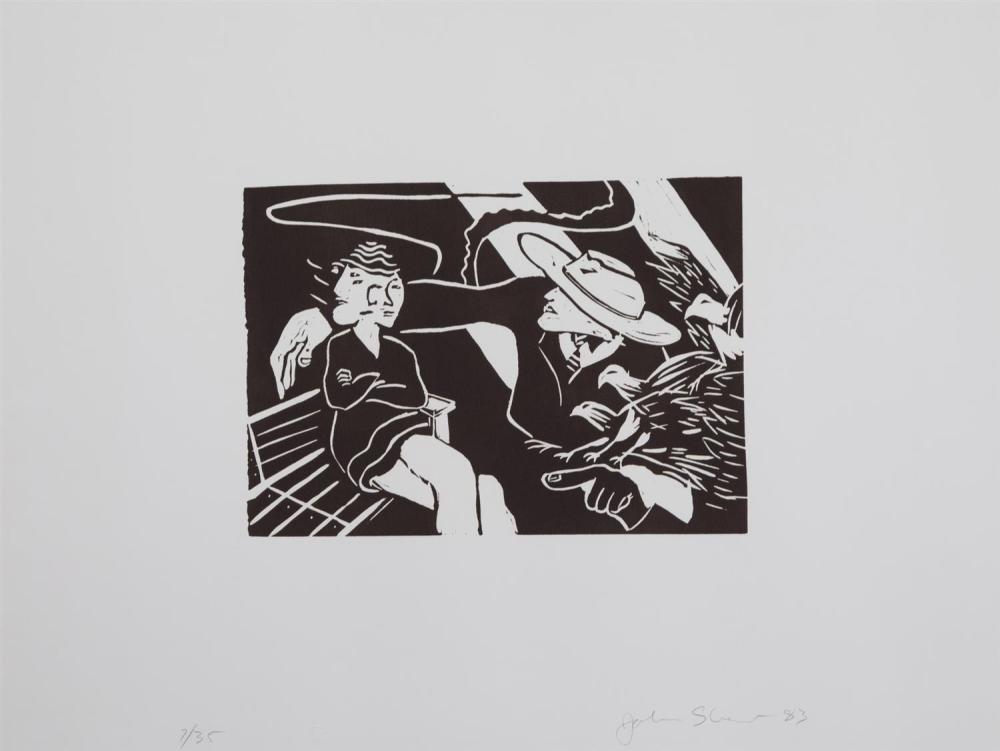 John P. Shaw, American (b. 1948), Untitled, figures, 1983, linocut, ed. 7/35, 9 x 12 1/2 inches (image)