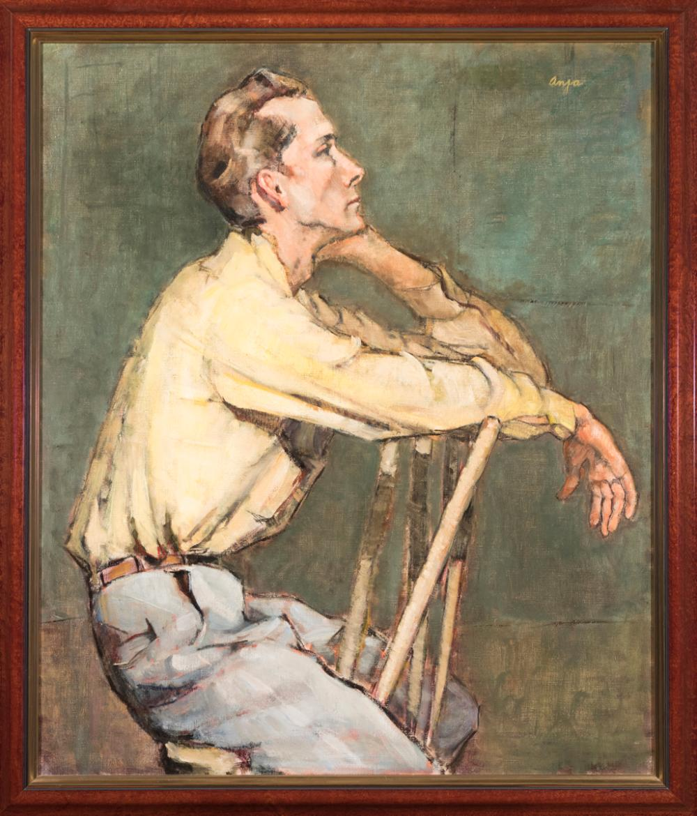 Ann Bedford Goodman, Michigan (1896-1988), Portrait of a Man, oil on canvas, 36 x 30 inches