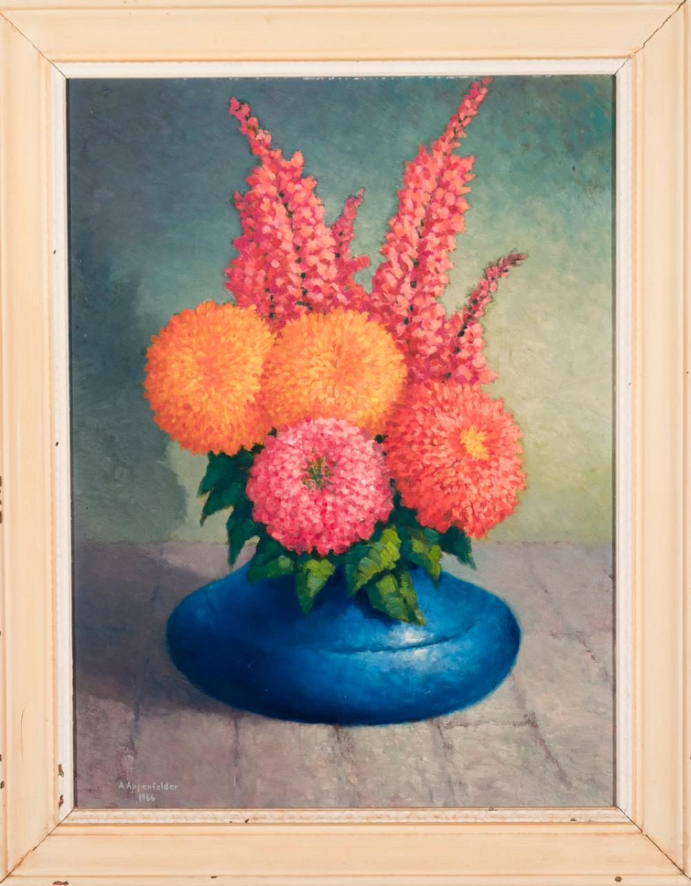 A. Appenfelder, 20th century, Flowers in a blue vase, 1966, oil on canvas, 24 x 18 inches