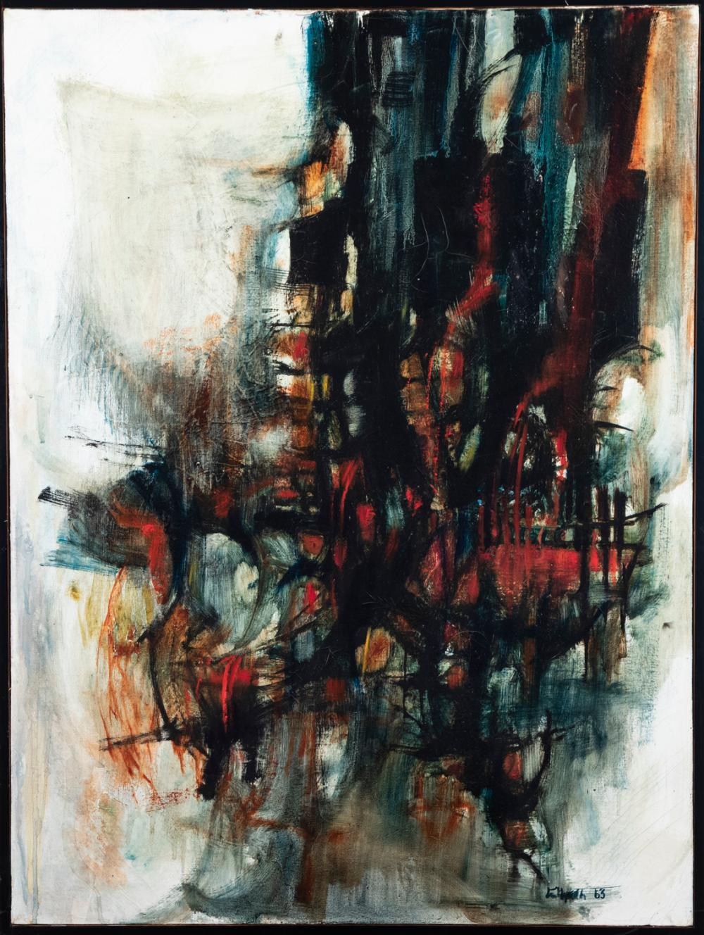 Karen Eltgroth, American, Conflagration,1963, oil on canvas, 40 x 30 inches