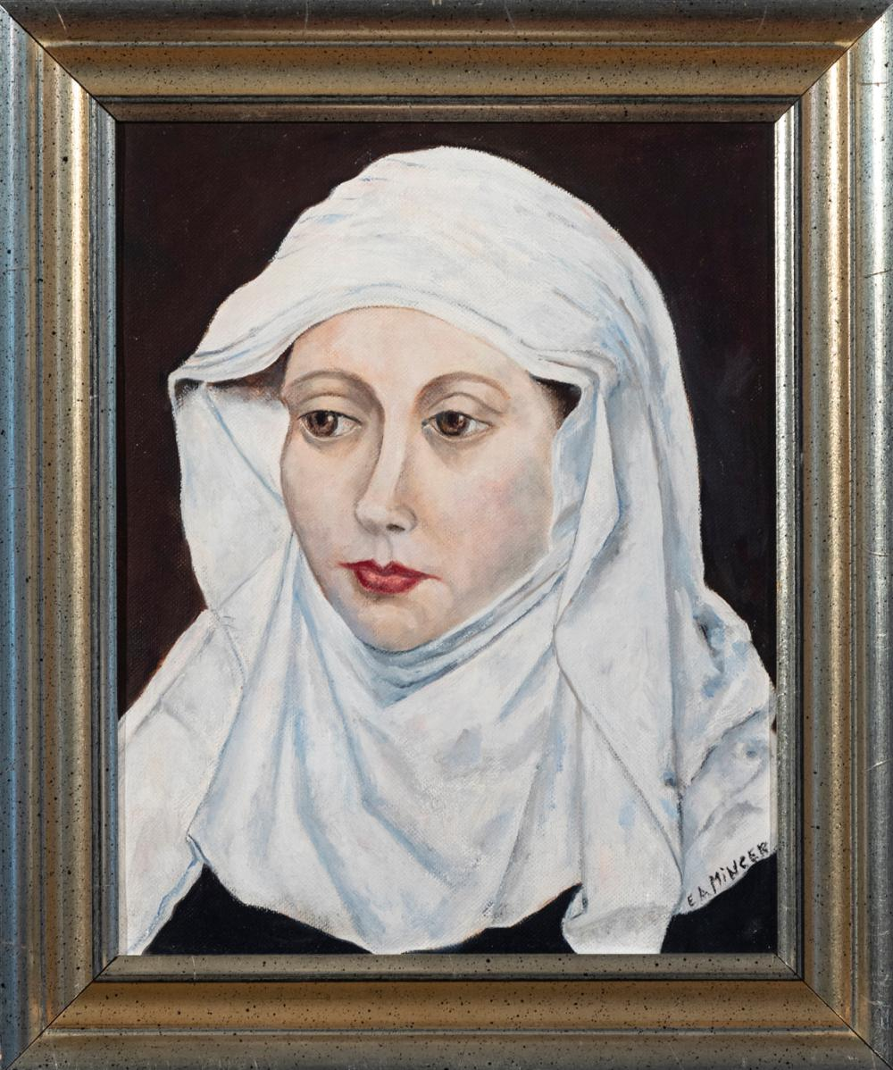 Etta A. Mincer, American, 20th century, Portrait of a Nun, 1957, oil on canvas, 9 1/2 x 7 1/2 inches