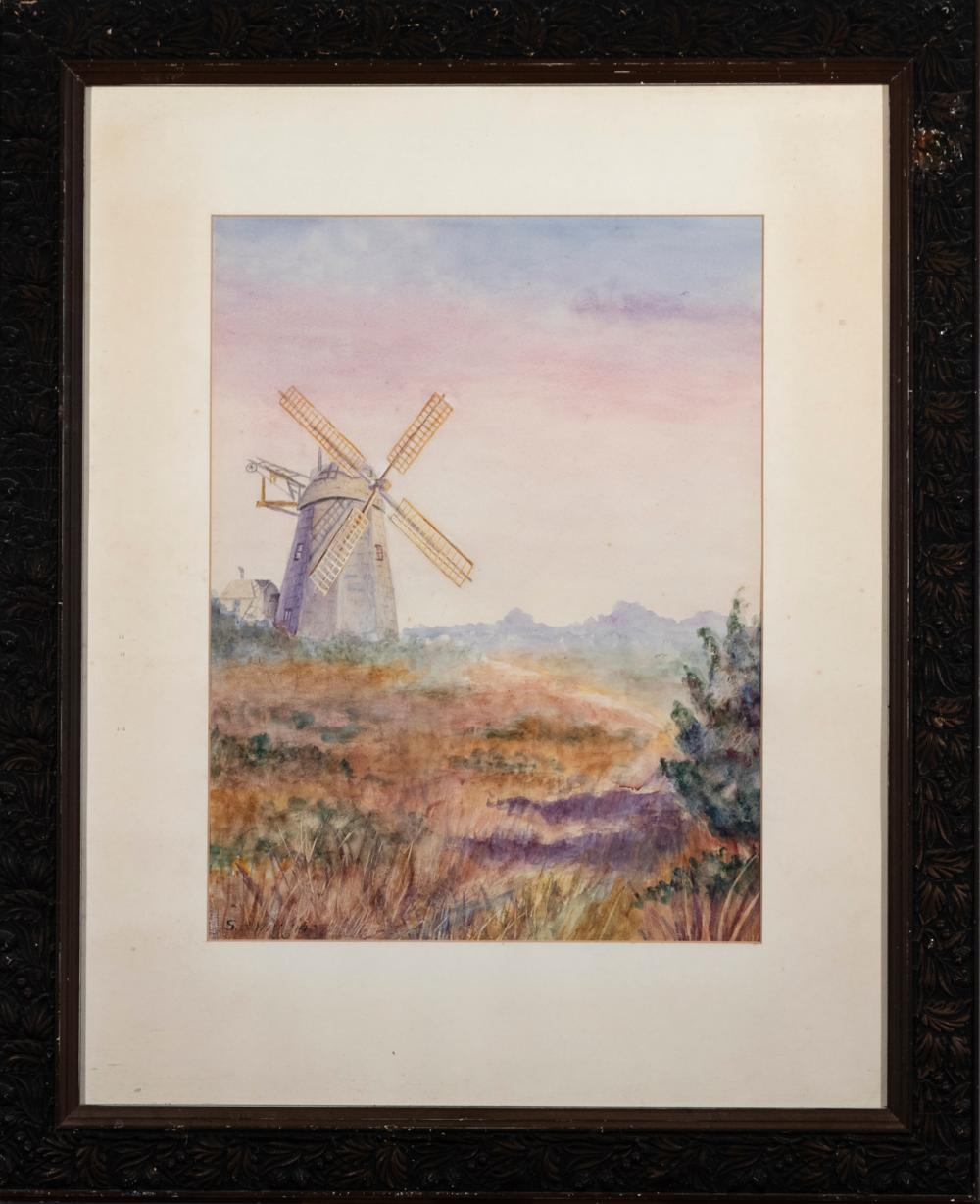 S. B. Wiggins, 20th century, Windmill, watercolor on paper, 18 1/2 x 14 inches