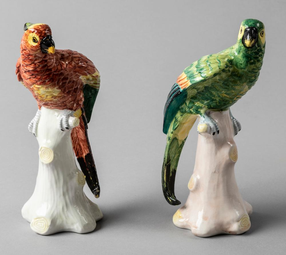Pair of Italian Handpainted Ceramic Parrot Figurines, Early 20th Century