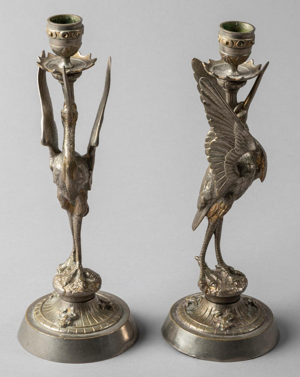 Pair of Napoleonic Gilt Bell Metal Figural Candlesticks