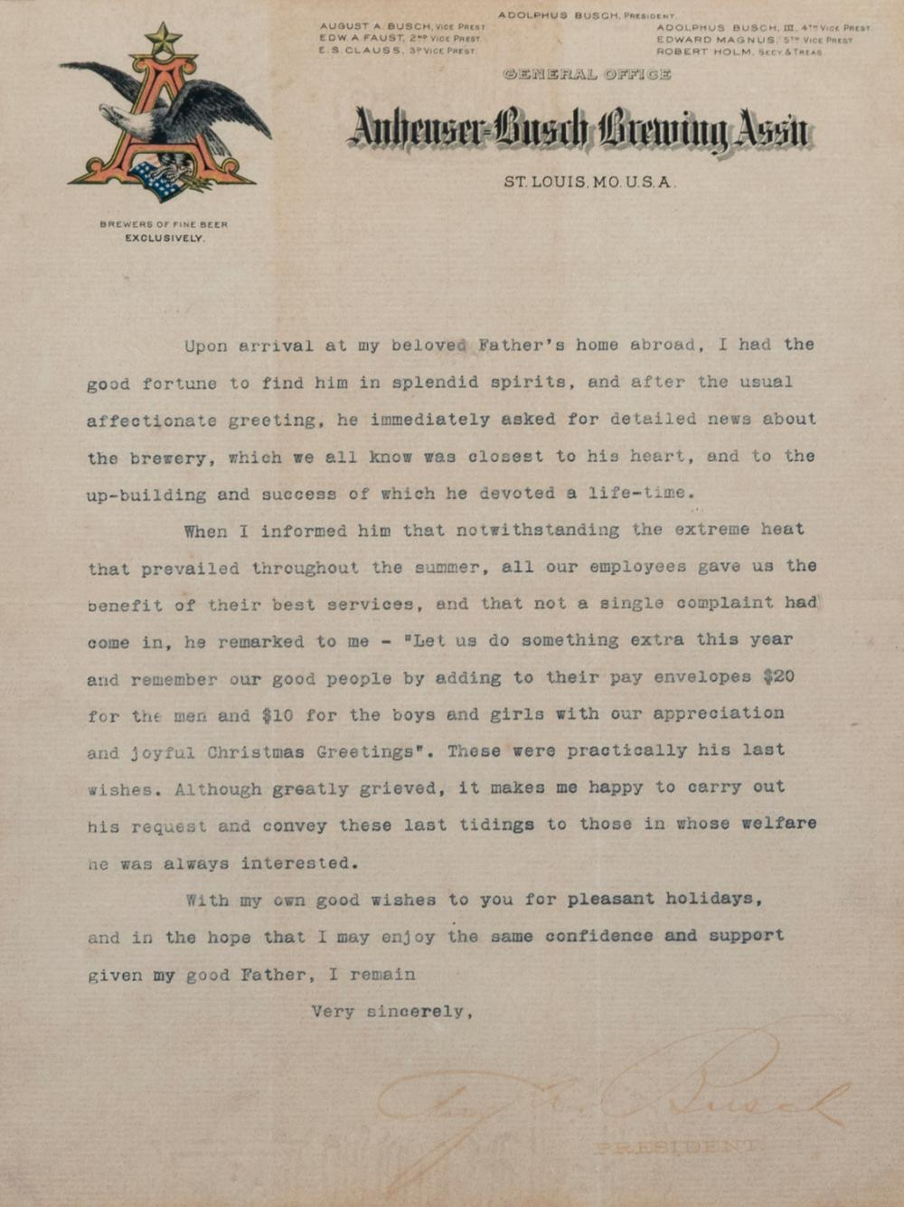 August A. Busch Signed Letter, Circa 1913