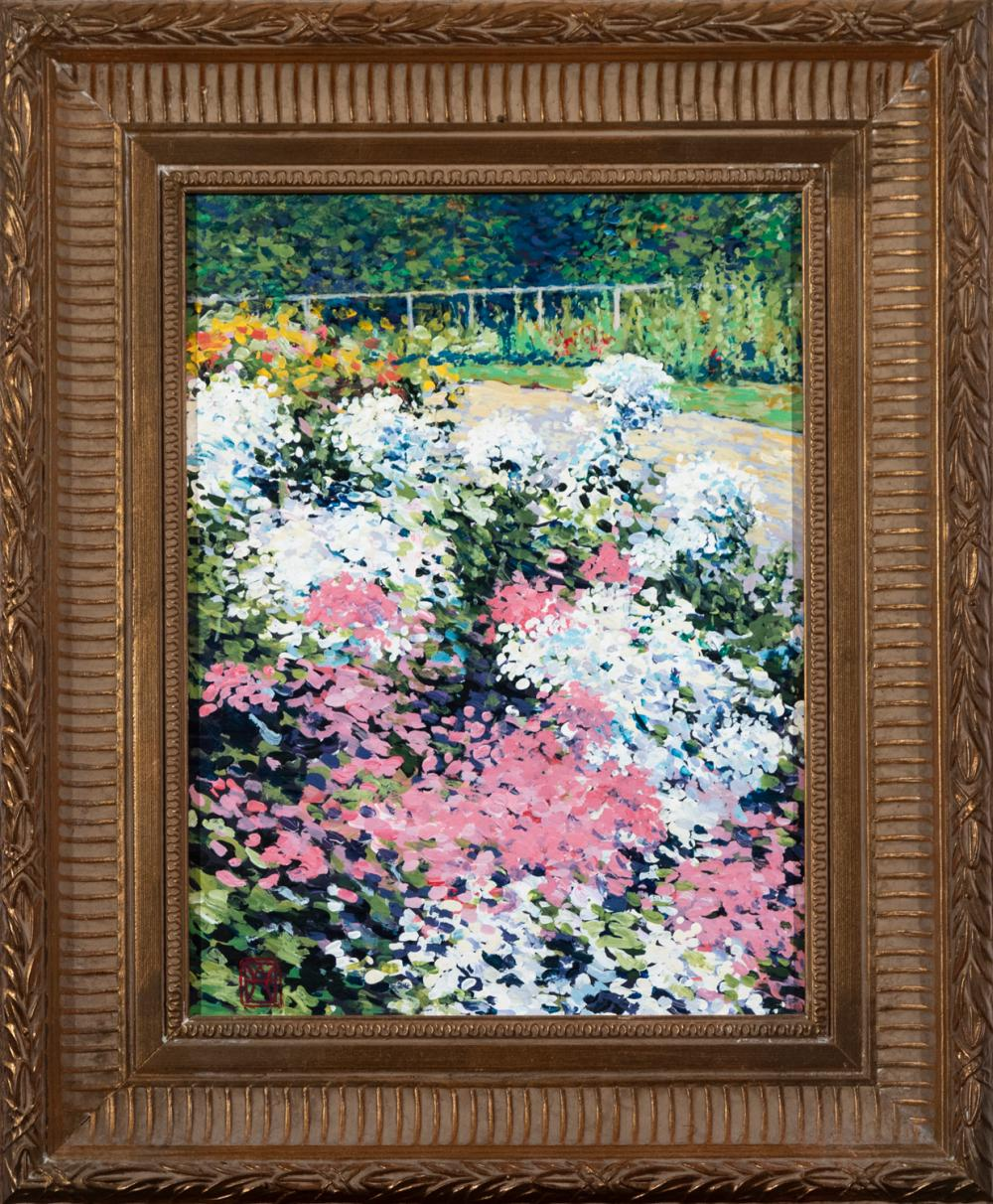 Wally Ames, Vermont (b. 1942), Flower Garden, oil on masonite, 12 x 9 inches