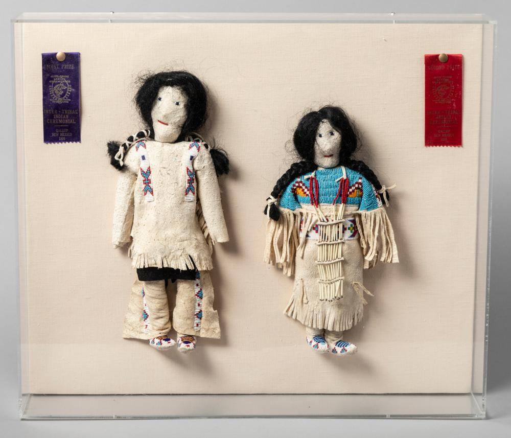 Two hand crafted Native American Dolls by James Petingill