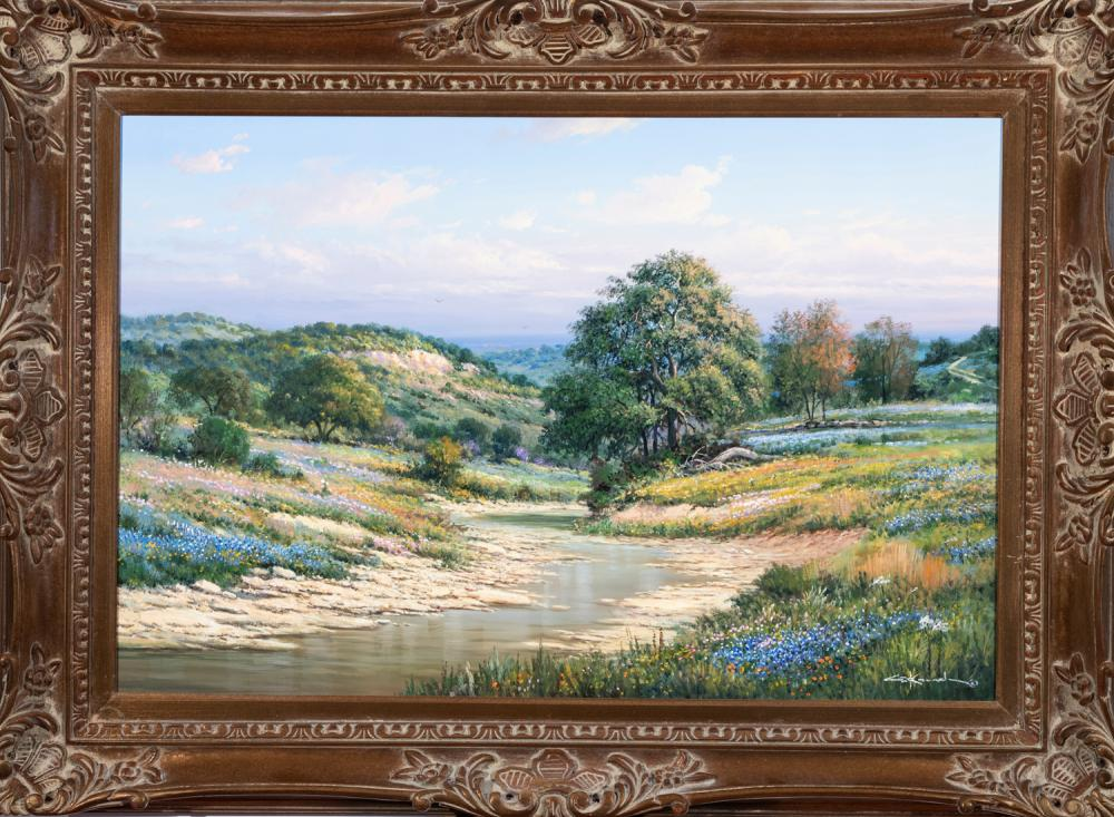 George Kovach, Texas, New Mexico, Ohio (b. 1942), Landscape with bluebonnets, oil on canvas, 28 x 40 inches