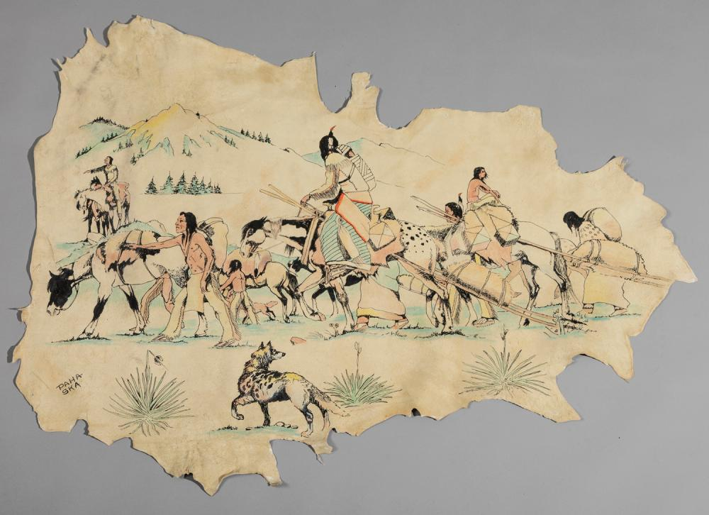 Paha Ska, American, Sioux tanned hide hand painted with figures