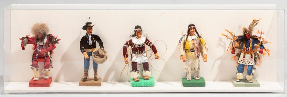 Five Handmade Sioux Indian Dolls in a Shadowbox frame, 20th Century