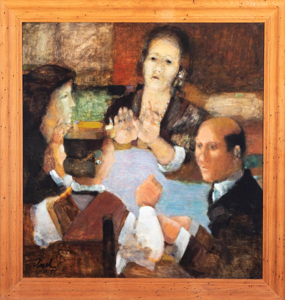 20th century, Seance, 1955, oil on canvas, 34 x 32 inches